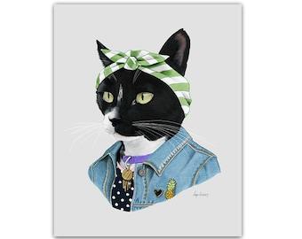 Black Cat Boss Lady print 8x10 - Cat Art - Pet Portrait - Spirit Animal - Cat Lover - Cat Gift - Ryan Berkley - Berkley Illustration