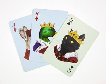 Playing Cards - Bridge Deck - Playing Card Set - Stocking Stuffer - Animal Portraits - Berkley Illustration - Ryan Berkley - Deck of Cards