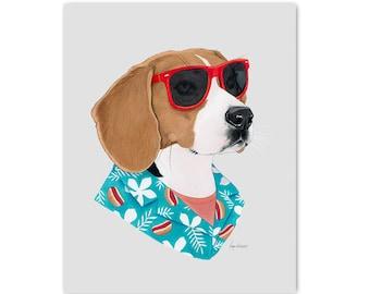 Cool Dog art print by Ryan Berkley 5x7 - Beagle - Pet Portrait - Chill Vibe - Gallery Wall
