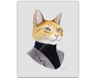 Orange Cat print 8x10 - Cat Art - Pet Portrait - Modern Nursery - Ginger Cat - Cat Lover - Cat Gift - Ryan Berkley - Berkley Illustration