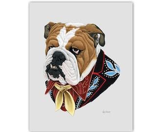 Bulldog Dog art print - 5x7 - modern kid art - dog art - modern nursery - animals in clothes - animal artwork - Ryan Berkley
