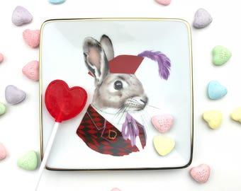 Tray - Small Tray - Jackrabbit - Change Dish - Jewelry Tray - Animal Portraits - Berkley Illustration - Bunny Portrait - Small Dish