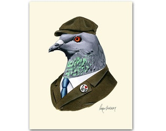 Pigeon art print - NYC art - Modern kid art - Animals in Clothes - Animal Art - Modern Decor - Ryan Berkley Illustration 11x14