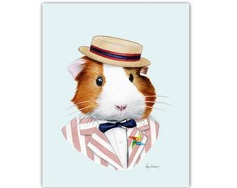 Guinea Pig art print - Pet Portrait - Animals in Clothes - Animal Art - Modern Decor - Apartment Art - Ryan Berkley Illustration 5x7