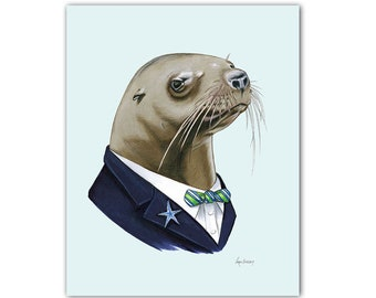 Sea Lion Gentleman art print 8x10