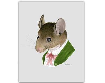 Mouse Lady print 8x10 - Animal art - Kid's Room Decor - Nursery Art - Dapper Animals - Storybook Art - Ryan Berkley - Berkley Illustration