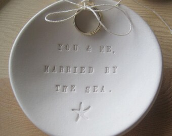 Ring Bearer Bowl - Married by the Sea wedding ring holder dish-  beach wedding or commitment ceremony, star fish design - by Paloma's Nest