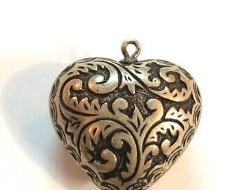 Large Puffed Heart Silvertone Charm