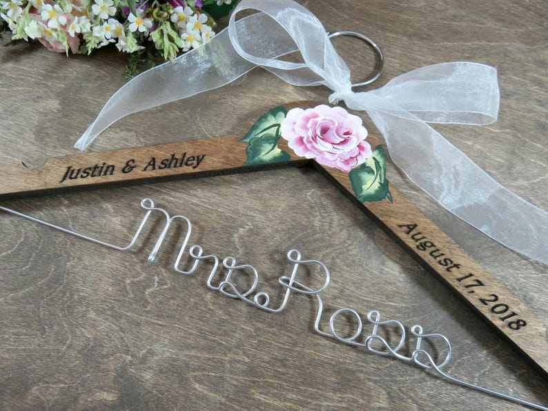 Hanger With Date Engraved  Personalized Bride Hanger  Bride image 0