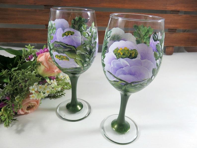Wine Glasses Painted  Flower Wine Glasses  Wine Love Gift  image 0