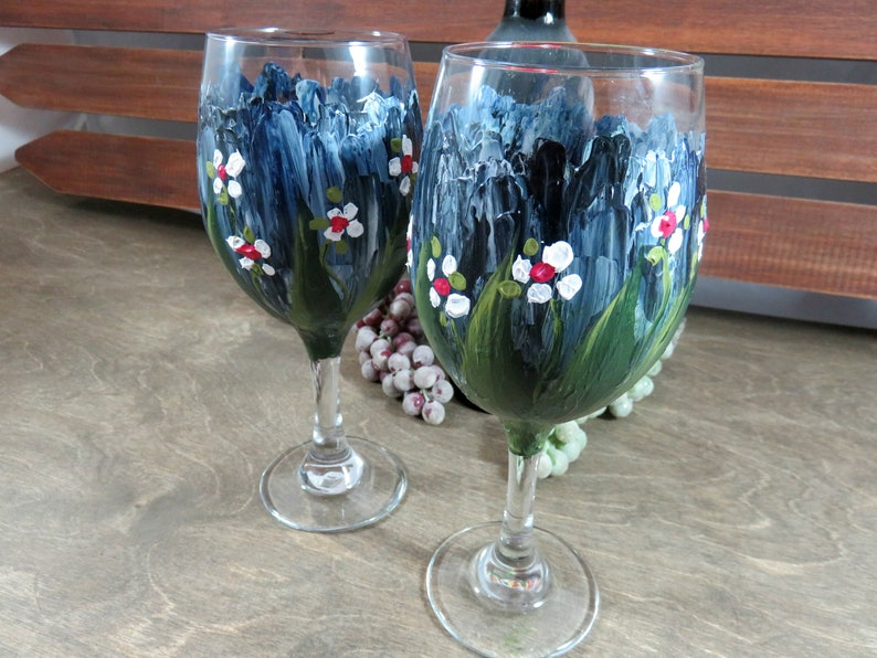 Painted Wine Glasses  Painted Stemware  Gift for Her  Hand image 0
