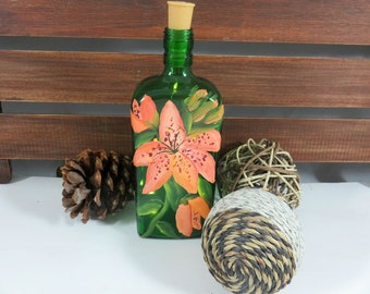 Painting on Bottle, Floral Painting, Lighted Bottles, New Home Gift, Gift for a Family