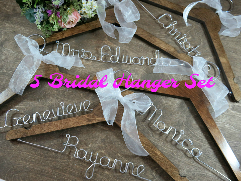 Personalized Bridesmaid Hangers Wedding Hangers Solid Wood image 0