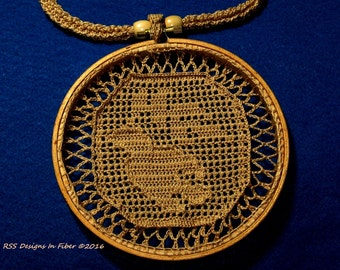 Bird of Peace Pendant Necklace - Filet Crochet in Wood Hoop Pendant with Crocheted Cord - Handmade Crochet Jewelry