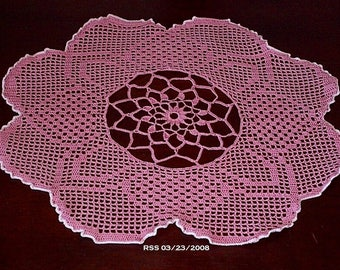Rose Pink Evening Primrose Bloom Doily - Filet Crochet Art - Crochet Lace Doily - Filet Crochet Lace - Pink Flower Decor - Table Top Decor