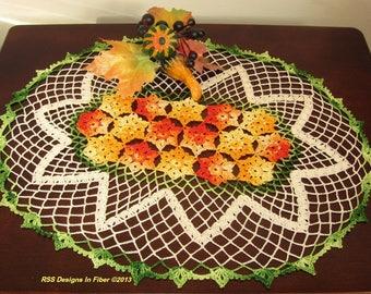Yellow Orange Crochet Oval Doily - Yellow Orange Flowers Doily - Country Floral Crochet - Garden Decor Handmade - Crochet Lace Art