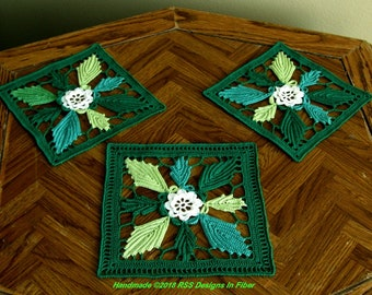 Spring Leaf Coaster Set of 3 in Greens - Green Home Decor - Green Table Top Decor - Green Coasters - Earthy Decor - Green Eco Friendly Decor