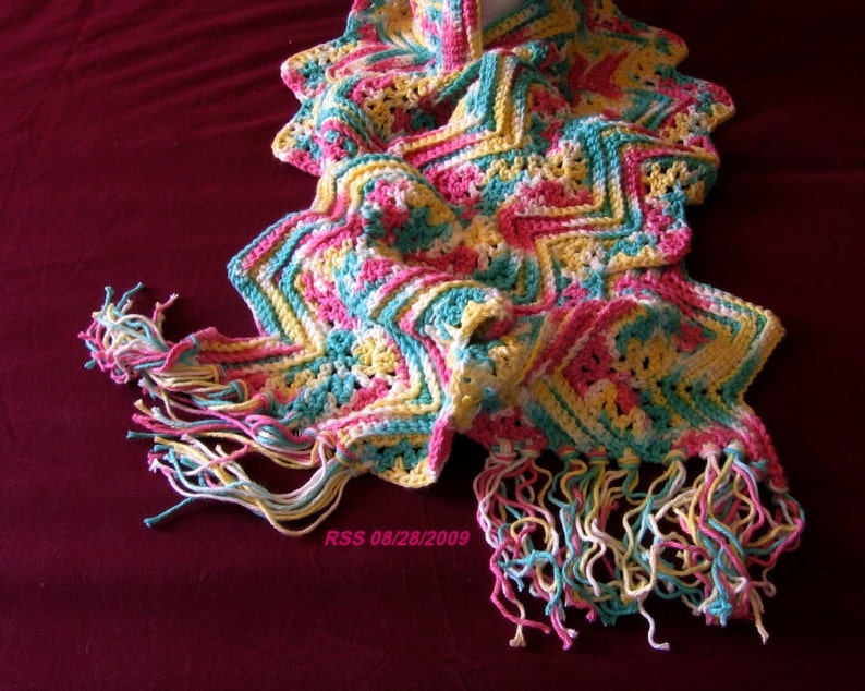 Crochet Scarf - Rippling Spring Colors - Long Fringed Scarf, All Cotton Scarf, Blue Pink Yellow Scarf - Handmade Scarf - Ready To Ship