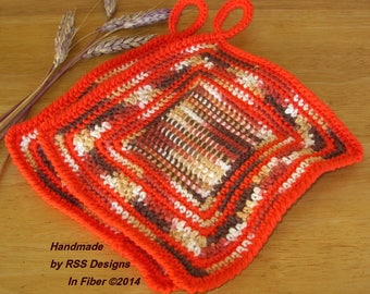 Orange and Browns Pot Holder Set of 2 - Fall Colors Kitchen Decor - Handmade Crochet Potholders - Rustic Home Decor - Eco Friendly