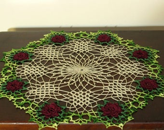 Red Rose Doily - 8 3D Roses Irish Crochet Lace Doily With Lattice Center - Rose Decor - Rose Lace in Vivid Colors - Holiday Rose Decor