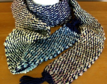 Blue Multi Tweed Crochet Scarf - Handmade Afghan Crochet Tweed - Long 86 Inch Adult Winter Scarf  - Soft Warm Scarf - Ready To Ship