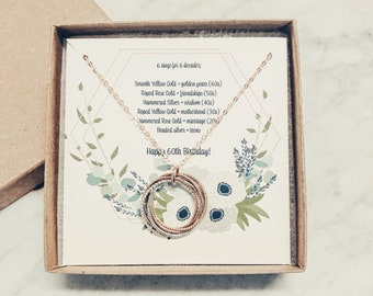 Rose Gold-Filled Entwined Five Rings Necklace Birthday Gift Eternity Necklace Intertwined Necklace MADE TO ORDER 5th Anniversary Gift