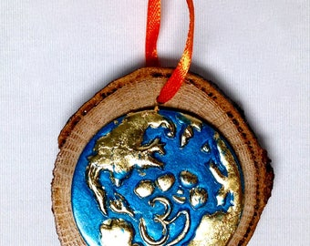 Om on Earth Hardwood and Clay Ornament