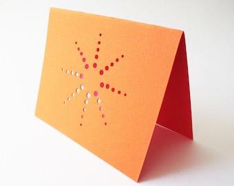 orange burst cards ... set of 3 blank cards