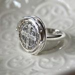 Women's St. Benedict Medal Cross Ring Sterling