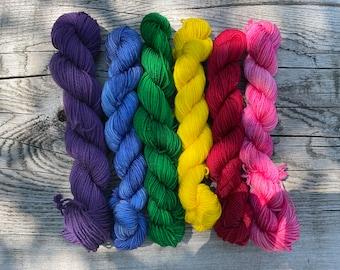 Teton Wildflowers Gradient 6 Mini Skeins Set Mountain Sock Fingering 4 Ply 100% Superwash Merino Wool Tonal Indie Dyed Sock Yarn