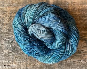 Blue Bird Day Teton Yarn Company Olympic Merino Yak Silk Single Ply Fingering Yarn Indie Dyed Shawl 120 Gram