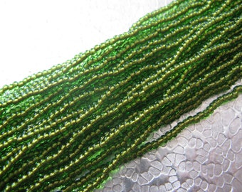 Seed Bead 11/0 Copper Lined Lime Green  about 3000 Beads