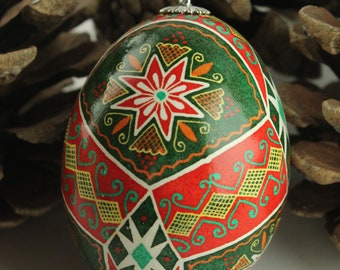 Holiday Ornament Pysanka for Hanging | Red and Green Ukrainian Easter Egg | Red and White Stars Batik Chicken Eggshell