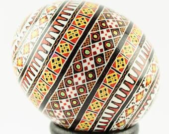 Wolve's Teeth Pysanka | Red, Yellow, White Ukrainian Easter Egg | Batik Chicken Eggshell | Collectible