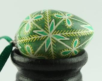 Tiny Pysanka Ornament | Green and Yellow Quail Pysanky Egg | Ukrainian Easter Egg