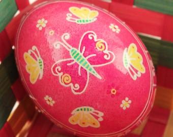 Butterfly Pysanka | Pink and Yellow Ukrainian Easter Egg | Batik Chicken Eggshell