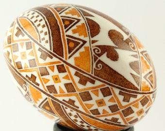 Deer Pysanka | Duck Egg | Brown, White and Gold Ukrainian Easter Egg