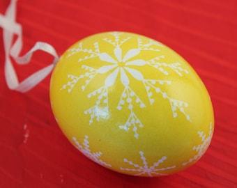 Lemondrop Easter Egg Ornament |  White Snowflake Easter Egg | Yellow Batik Chicken Egg Ornament | Gift For Her