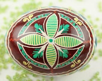 Butterfly Pysanka | Green, Blue and Brown Ukrainian Easter Egg | Batik Chicken Eggshell | Gift For Her