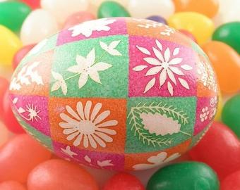 White Etched Flowers Batik Easter Egg | Pink Orange and Green Art Egg | Chicken Eggshell