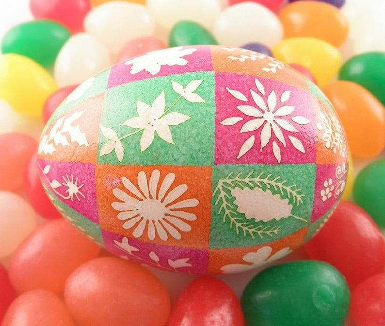 White Etched Flowers on Pysanky Egg Pink Orange and Green image 0