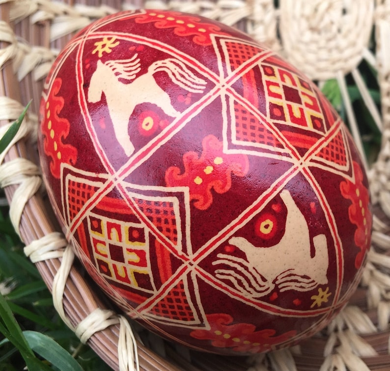 Brown and Red Horse Pysanka Chicken Ukrainian Easter Egg image 0