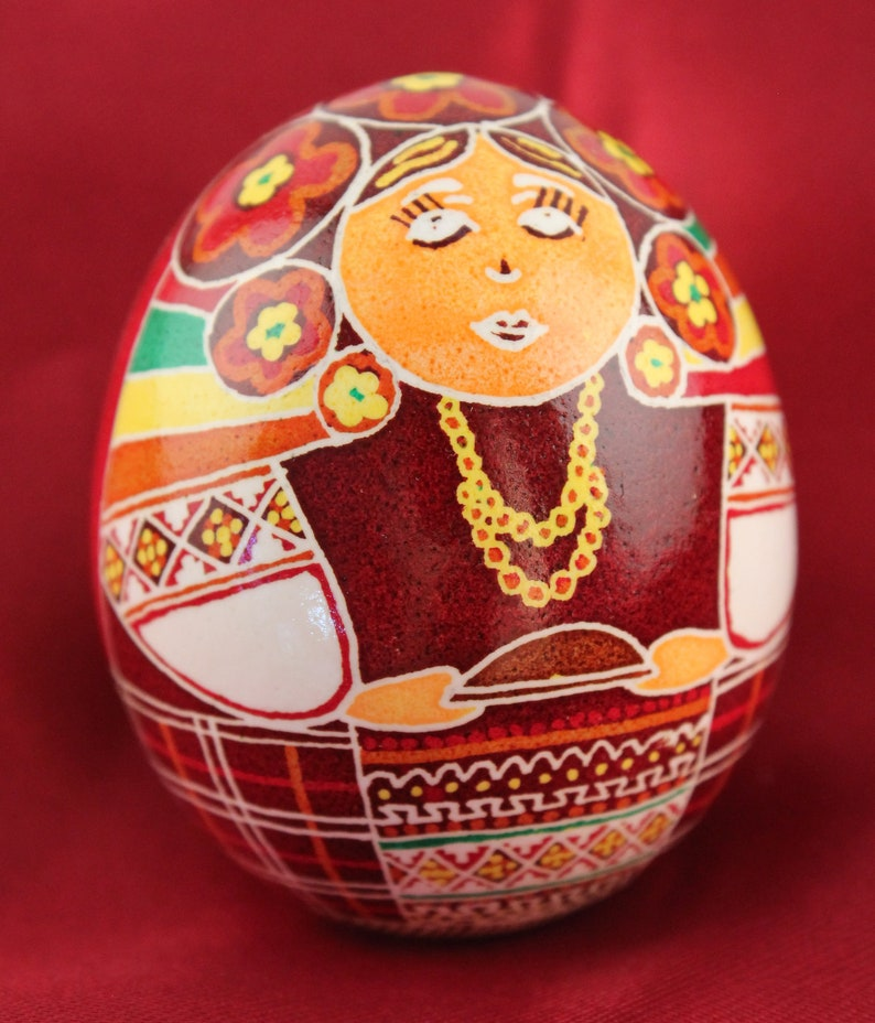 Ukrainian Girl Pysanka Chicken Ukrainian Easter Egg Batik image 0