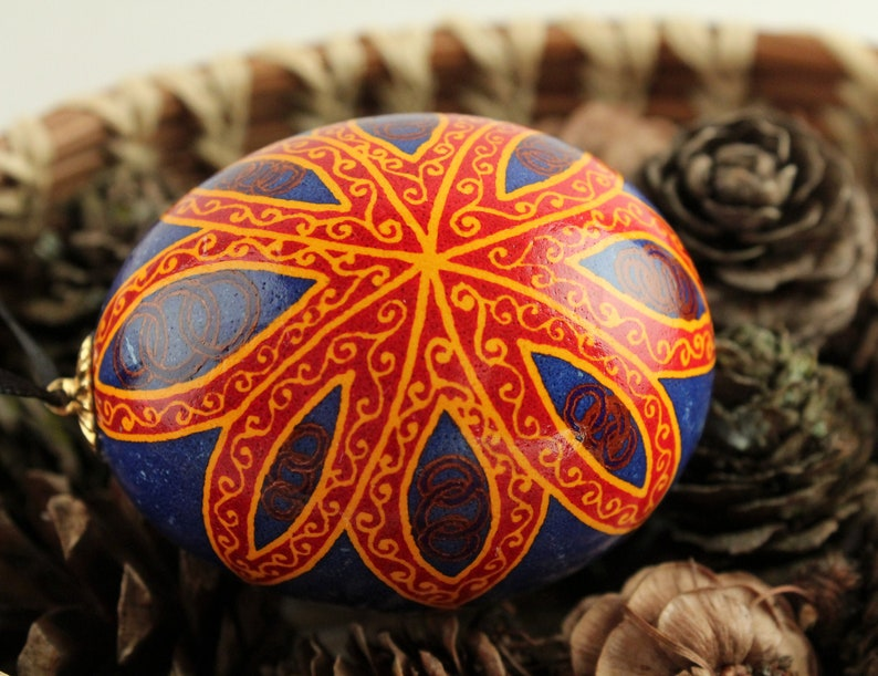 Red and Gold Flower Pysanka Ornament Blue and Red Batik image 0