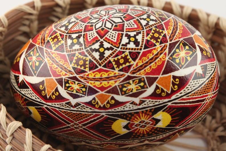 Red Star Burst Pysanka Goose Ukrainian Easter Egg Mantle image 0
