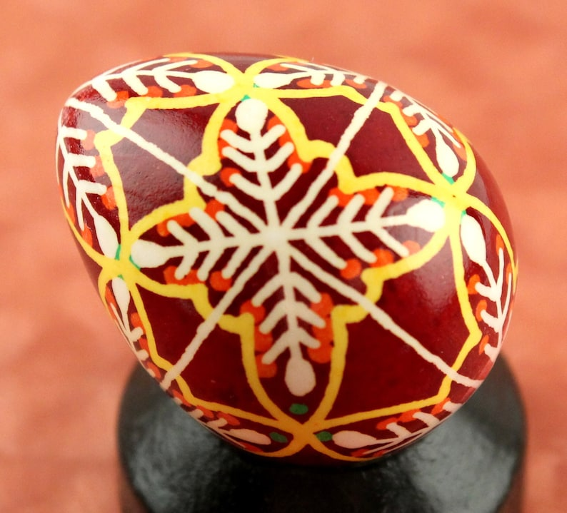 Harvest Quail Pysanka Dark Red Ukrainian Easter Egg Batik image 0