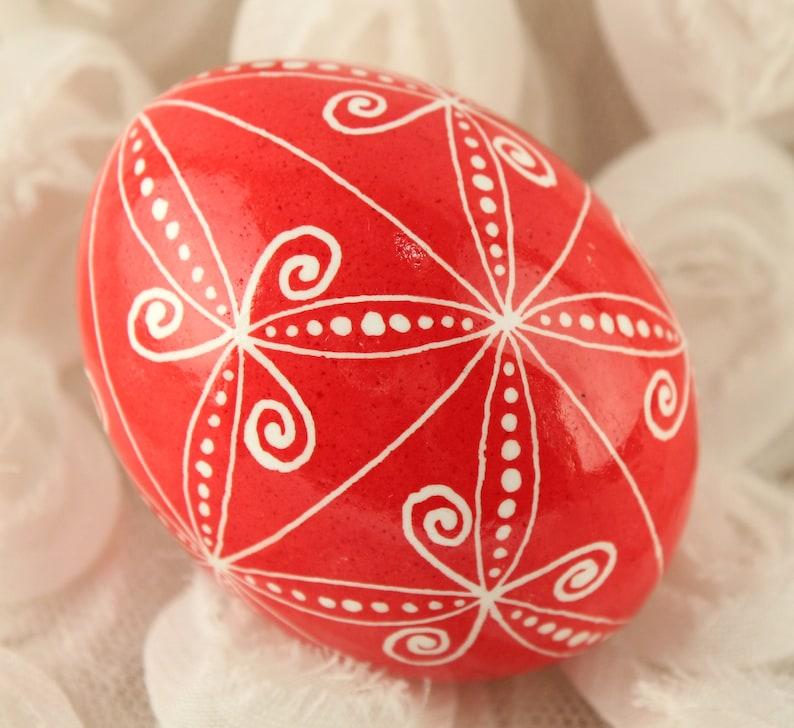 Red and White Chicken Egg Pysanka Ukrainian Easter Egg image 0