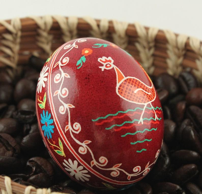 Dark Red Hen Pysanka Ukrainian Easter Egg Batik Chicken image 0