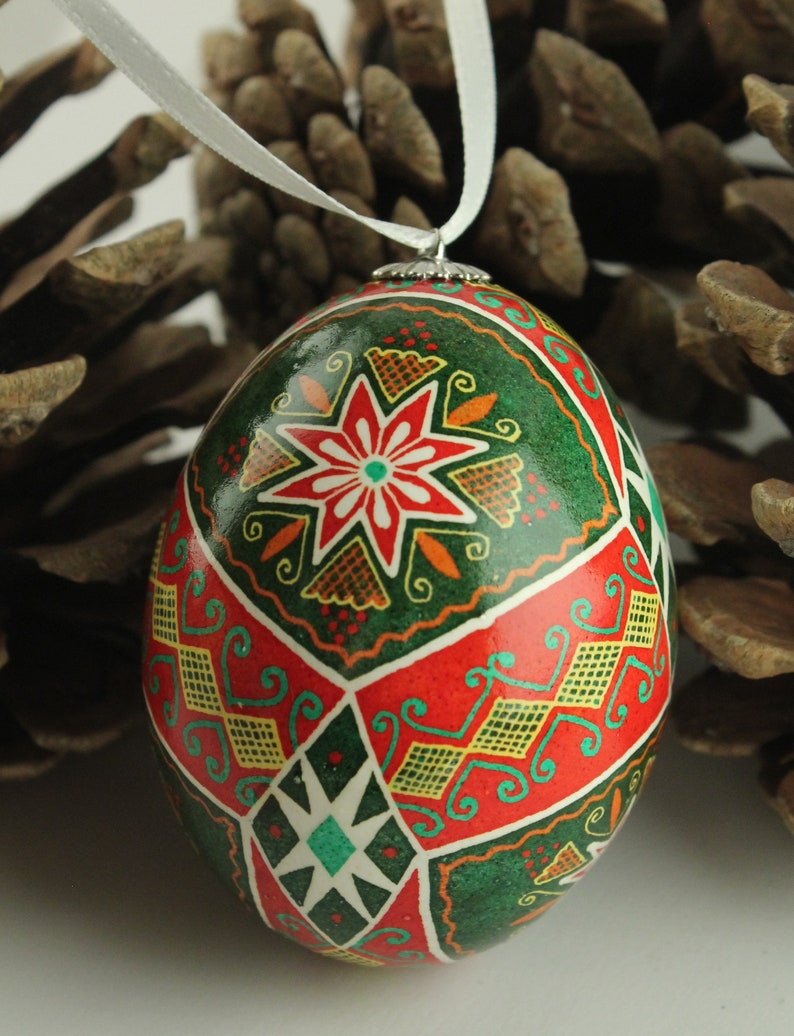 Holiday Ornament Pysanka for Hanging Red and Green Ukrainian image 0