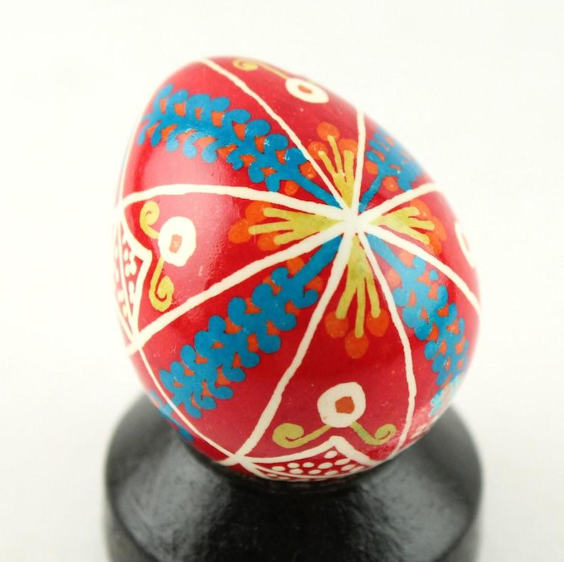 Tiny Red and Blue Pysanka Quail Ukrainian Easter Egg Batik image 0